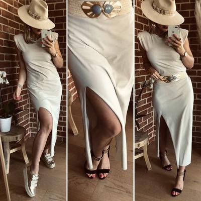 Robe longue Épaulettes beige