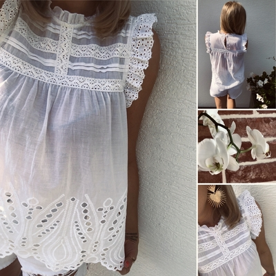 Top Princess blanc en broderie anglaise