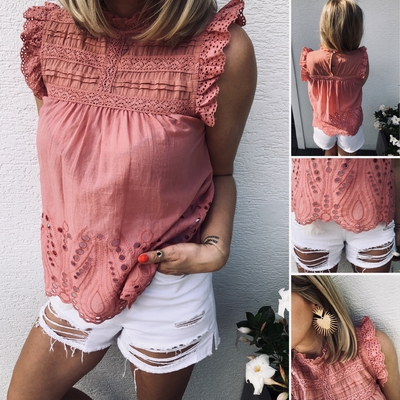 Top Princess rose en broderie anglaise