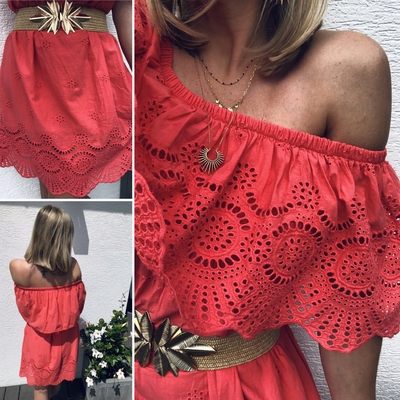 Robe Happy corail en broderie anglaise