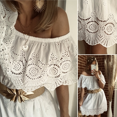 Robe Happy blanche en broderie anglaise