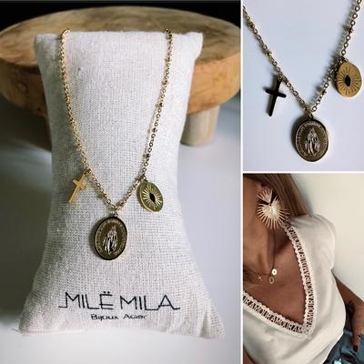 Collier pendentifs croix/sainte vierge/oeil Or doré à l'Or fin