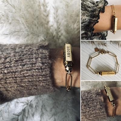 Bracelet AMOUR LOVE en Acier doré à l'OR fin