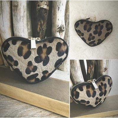 Porte monnaie coeur en cuir léopard grosse taches effet poulain