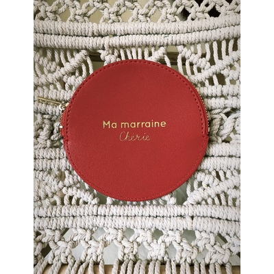 Porte monnaie rouge  «Ma marraine chérie»