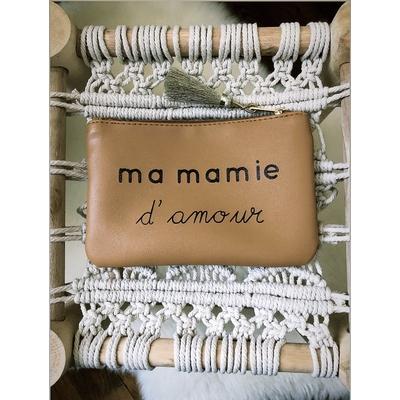 Grand porte monnaie camel «Ma mamie d'amour»