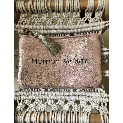 Grand porte monnaie rose poudré «Maman parfaite»