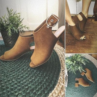 Sandales à talon ajourées camel