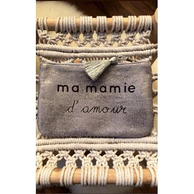 Grand porte monnaie argenté«Ma mamie d'amour»