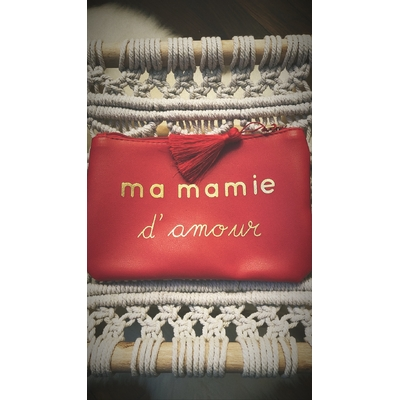 Grand porte monnaie rouge «Ma mamie d'amour»