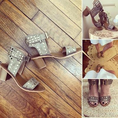 Sandales cloutées à large bride kaki