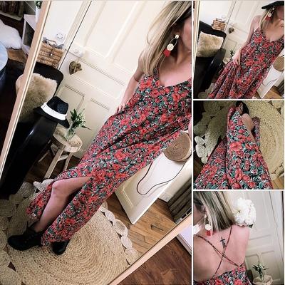 Longue robe Mackenzie imprimée fleurie rouge