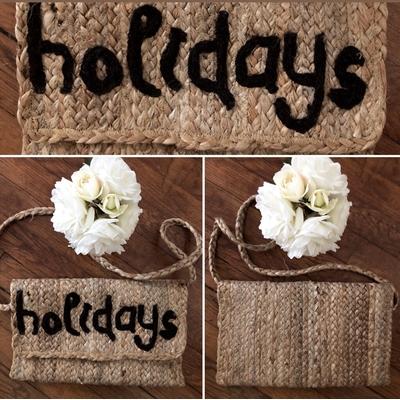 Grand sac en jute Holidays noir