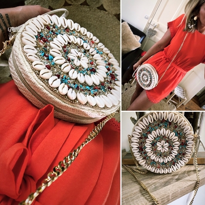 Sac rond perles & coquillages corail
