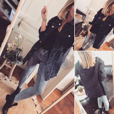 Longue Veste noire en jean Jessy