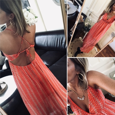 Longue robe corail joli dos Hilina