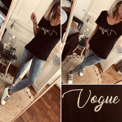 "Tee-shirt noir ""Vogue"""