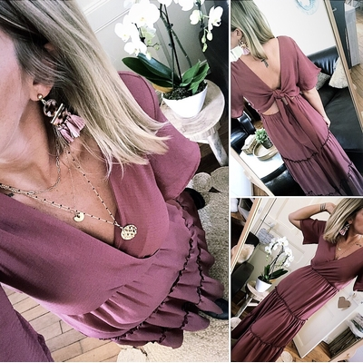 Longue robe Andréa Rose des bois