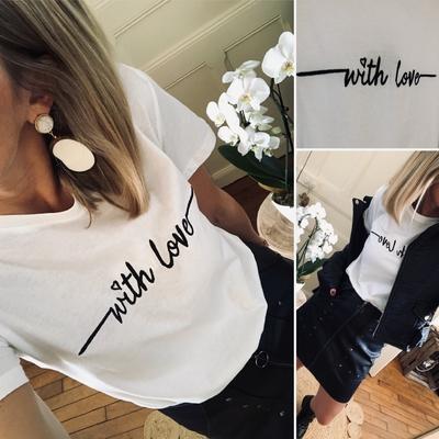 "Tee-shirt ""With love"" noir"