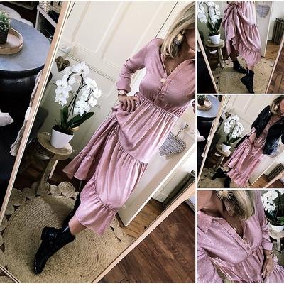 Robe longue Nicole rose poudré