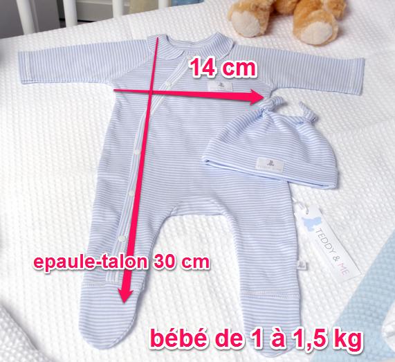 Pyjama col arrondi teddy à partir de 1 kg et 1,5 kg
