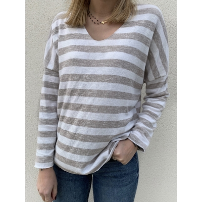 Pull fin Evy taupe