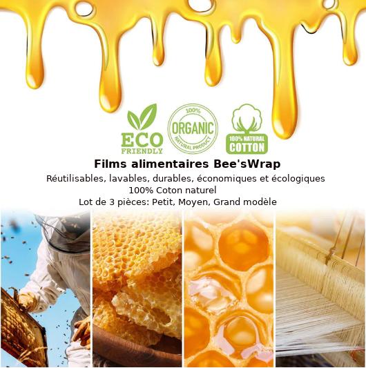 Lot de 3  Films alimentaires «Bee'sWrap» 8 modèles-15