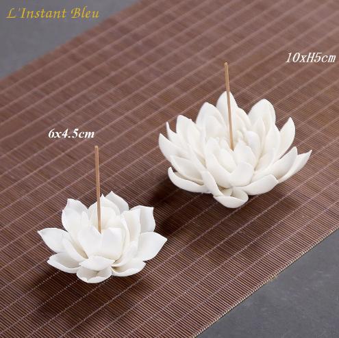 Porte Encens «Kāmāla » Fleur de Lotus en Céramique-6