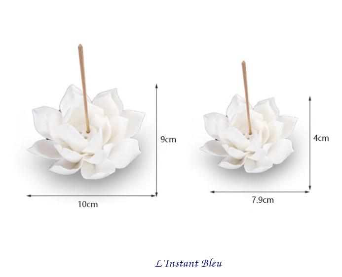 Porte Encens «Kāmāla » Fleur de Lotus en Céramique-8