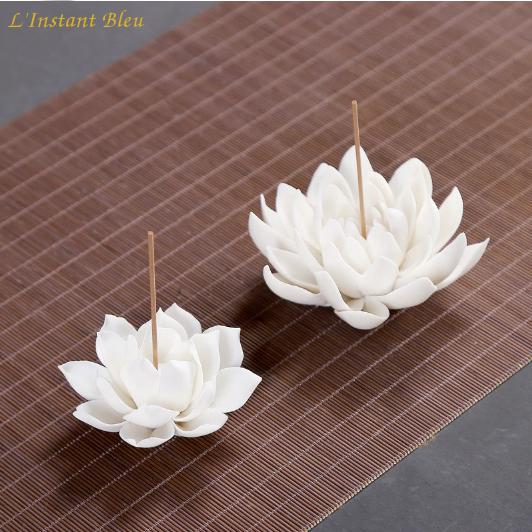Porte Encens «Kāmāla » Fleur de Lotus en Céramique-9
