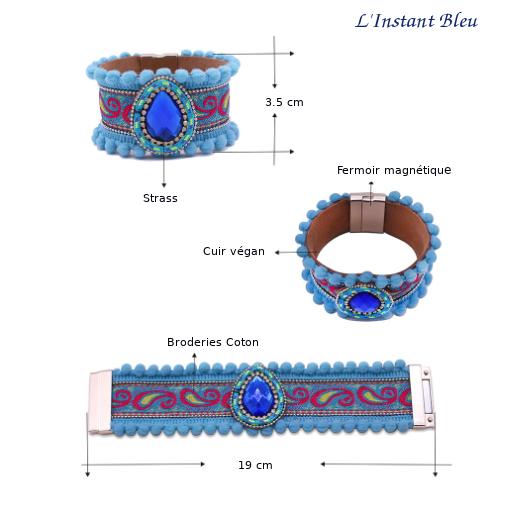Bracelet Boho «Vishākhā » Esprit lumineux en Cuir végan-2