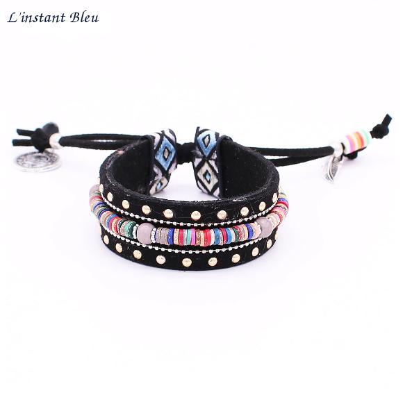 Bracelet Ethnique « Dakṣā » Esprit Bohème en Cuir végan-2.1