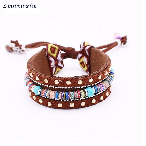 Bracelet Ethnique « Dakṣā » Esprit Bohème en Cuir végan-3.1
