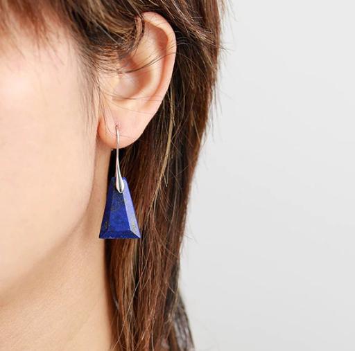 Boucles d'Oreilles Ethniques «Navaraṅgā» blue spirit en Lapis lazuli -3