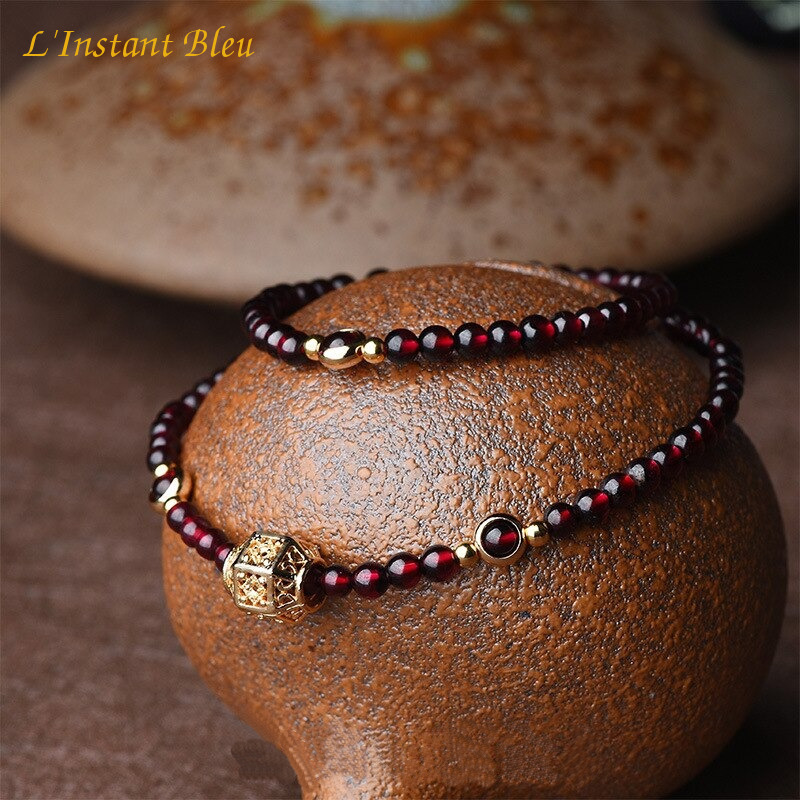 «Sḥabdā» Double Bracelet bohème en Grenat-3.1