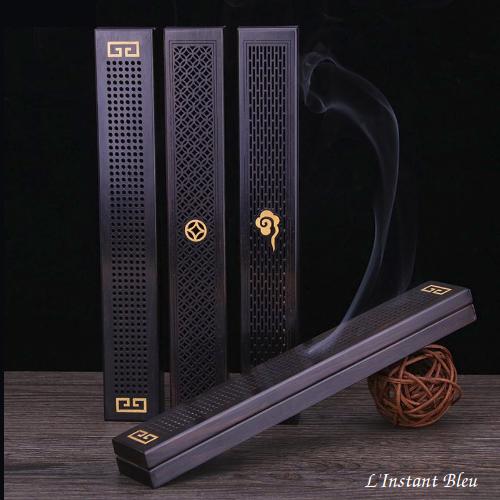 Boîtier Porte-Encens Traditionnel en bois d'ébène«Mahesh»2