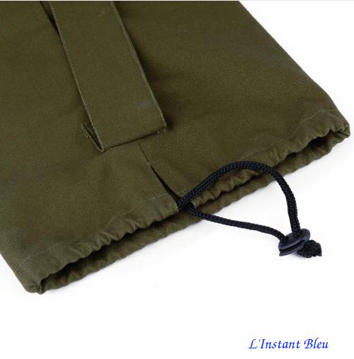 Sac Tapis Toile de couleur-Fleur brodée-vert-détail fermeture