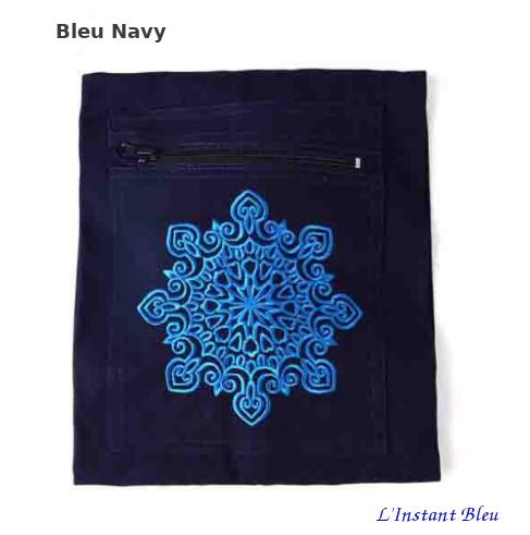 Sac Tapis Toile de couleur-Fleur brodée-poche Bleu navy