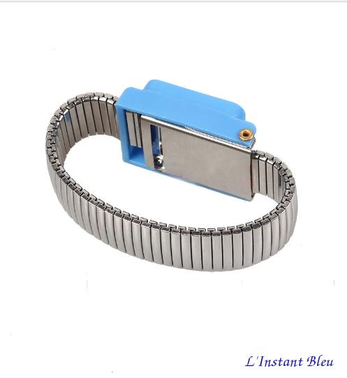 Bracelet pour mise à la Terre «Ganesh» en métal-Bleu 2