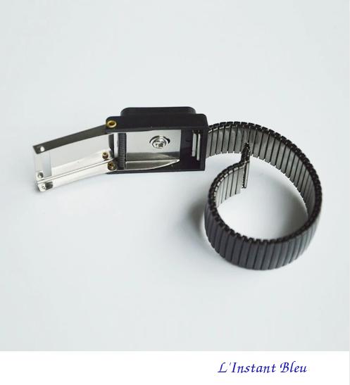 Bracelet pour mise à la Terre «Ganesh» en métal- Noir 2