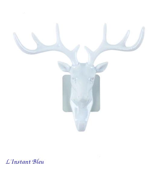 Patère-Porte-Bijoux «Cītal» tête de Cerf- Blanc