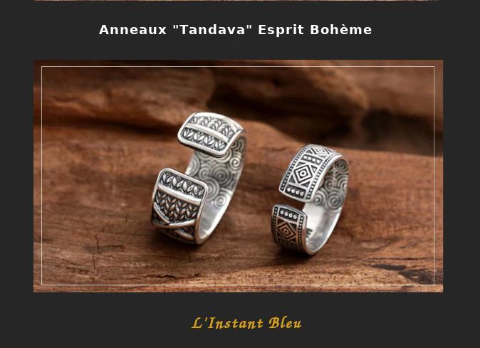 Anneaux Couple «Tandava» Esprit Bohème en Argent-7