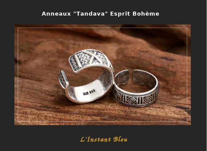 Anneaux Couple «Tandava» Esprit Bohème en Argent-8