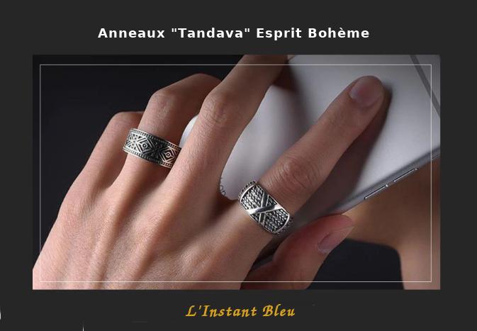 Anneaux Couple «Tandava» Esprit Bohème en Argent-11