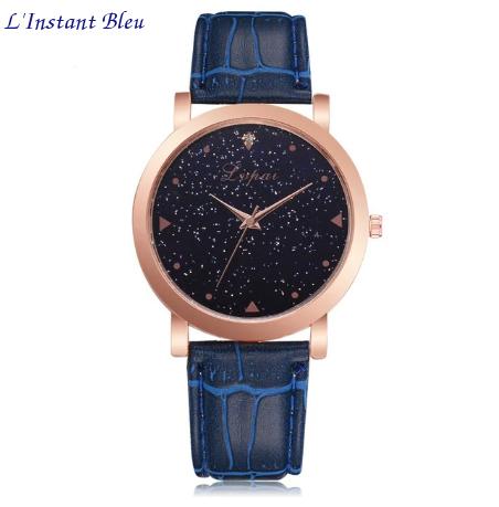 Montre casual «Ākāśa» le cosmos Or rose-Bleu cobalt