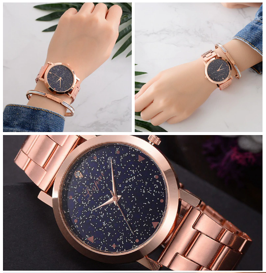 Montre casual «Ākāśa» le cosmos Or rose+Bracelet 3