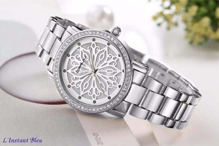 Montre casual « Nirvāṇa» Fleur intemporelle- Argent