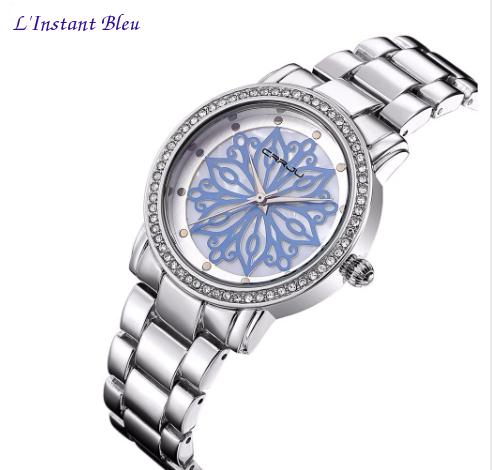 Montre casual « Nirvāṇa» Fleur intemporelle- Bleu-2