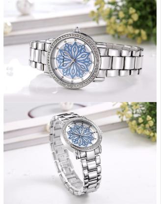 Montre casual « Nirvāṇa» Fleur intemporelle- Bleu-3