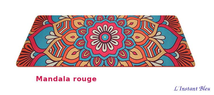 Tapis de Yoga «Bīja» 7 Chakra, Mandala et Nature-Mandala rouge2